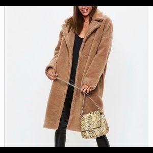 MISGUIDED Camel Chunky Borg Teddy Bear Coat sz 4